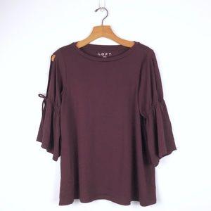 LOFT burgundy split, tie, bell sleeve blouse, sz S